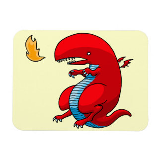 Red Dragon Art by Third Rail Design Labs Rectangle Magnets