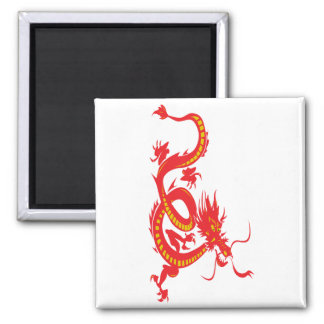 Red Dragon Chinese New Year Square Magnet