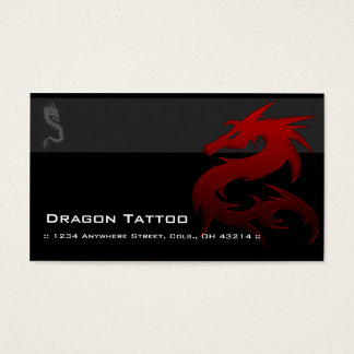 Red Dragon D1 Asian Tattoo Unique Business Cards