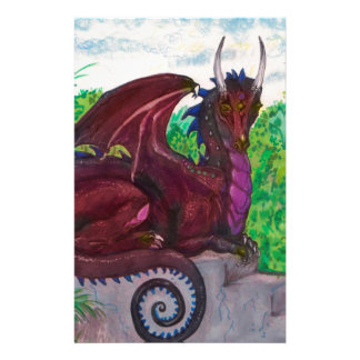 Red Dragon Dragoness Crimson Fantasy Monster Stationery