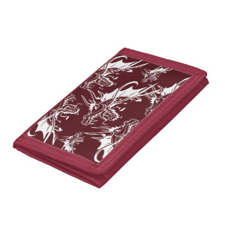 Red Dragon Mythical Creature Cool Fantasy Design Tri-fold Wallet