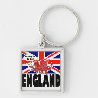 Red Dragon of Wales at Tea Time Silver-Colored Square Key Ring