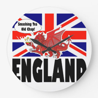 Red Dragon of Wales at Tea Time Wall Clock