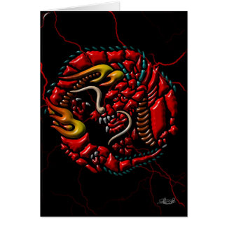 Red Dragon on Black Marble Card