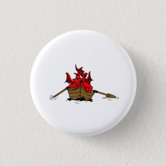 Red Dragon On Boat 3 Cm Round Badge