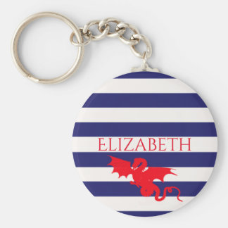 Red dragon on classic blue and white stripes name key ring