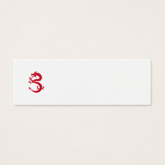 Red Dragon Prancing Silhouette Retro Mini Business Card