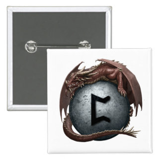 Red Dragon Rune Button - Perthro