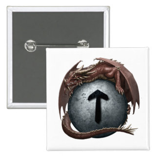 Red Dragon Rune Button - Tiwaz
