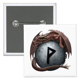Red Dragon Rune Button - Wunjo