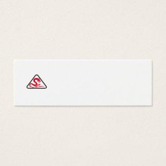 Red Dragon Silhouette Triangle Retro Mini Business Card