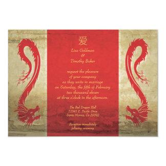 "Red Dragon Wedding Invitations 5"" X 7"" Invitation Card"