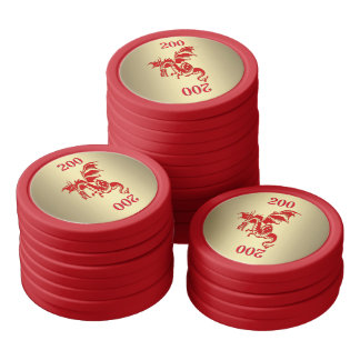 Red Dragon with Numbers you Change Poker Chips