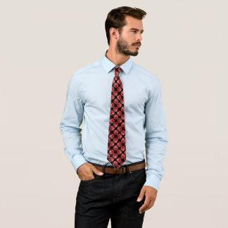 Red Dragon Yin Yang Silk Foulard Tie