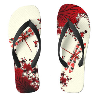 Red Dragonfly Flip Flops