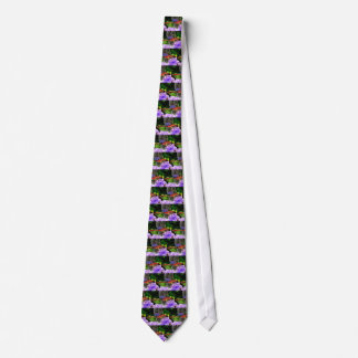 Red Dragonfly on Violet Purple Flowers Tie