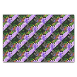 Red Dragonfly on Violet Purple Flowers Tissue Paper