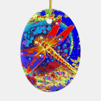 Red Dragonfly Splashing gifts Ceramic Ornament