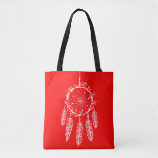 Red Dream Catcher Native American Southwestern Tote Bag