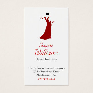 Red Dress Ballroom Dance Business Card