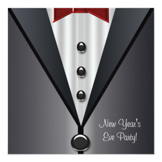 Red Dress Black Tuxedo New Years Eve Party 13 Cm X 13 Cm Square Invitation Card