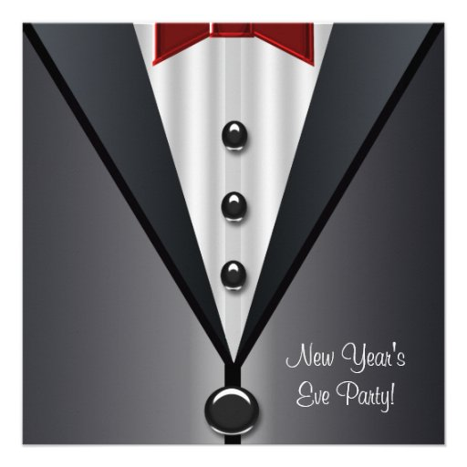 Red Dress Black Tuxedo New Years Eve Party Personalized Announcements