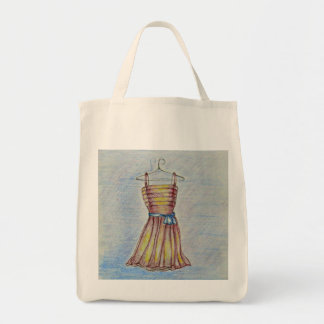 red dress grocery tote bag