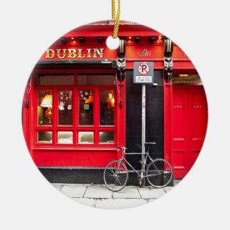 Red Dublin Pub Ceramic Ornament