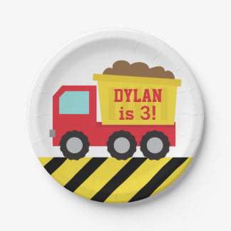 Red Dump Truck Construction Boys Birthday Party Paper Plate