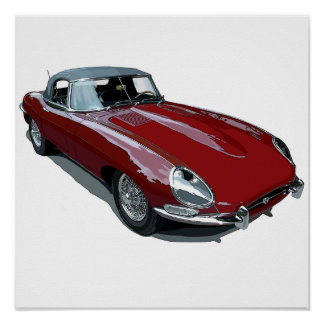 Red E Type Roadster Poster