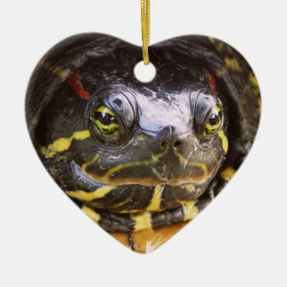 Red Eared Slider Turtle Head Ceramic Heart Decoration