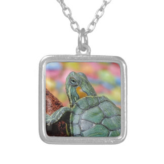 Red-eared slider turtle square pendant necklace