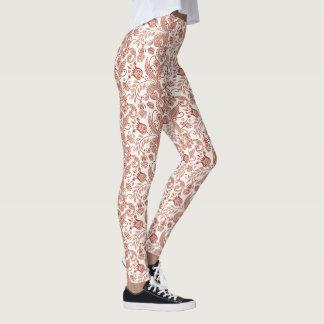 Red East Indian Floral Vine Design Leggings