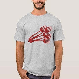 red eating dinner dining forks t-shirt apparel