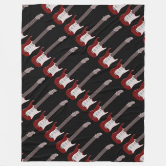 Red Electric Guitar Design Fleece Blanket