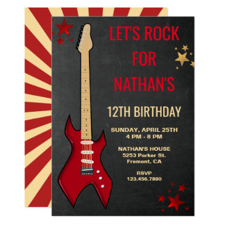 Red Electric Guitar Rockstar Birthday Party Invite