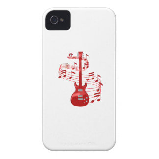 Red Electric Guitar With Music Notes iPhone 4 Case