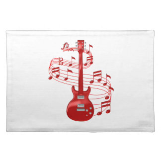 Red Electric Guitar With Music Notes Placemat
