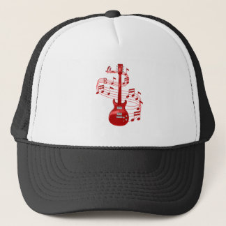 Red Electric Guitar With Music Notes Trucker Hat