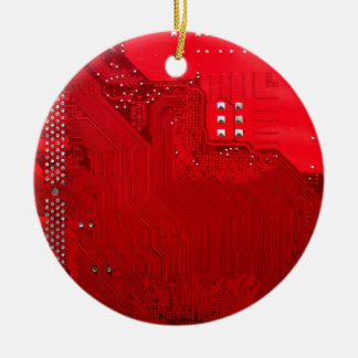 red electronic circuit board.JPG Ceramic Ornament