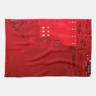 red electronic circuit motherboard pattern texture tea towel