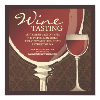 Red Elegance Wine Glass Wine Tasting Party 13 Cm X 13 Cm Square Invitation Card