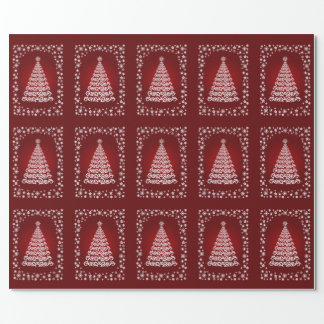 Red Elegant Christmas Tree Wrapping Paper