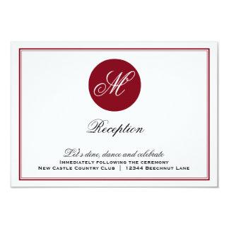 Red Elegant Script Monogram Reception Card 9 Cm X 13 Cm Invitation Card