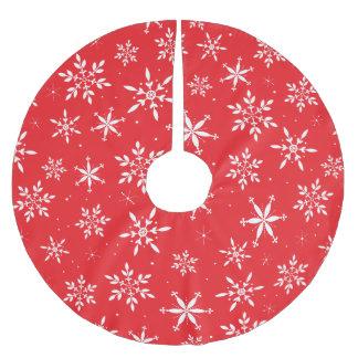 Red elegant snowflake Christmas tree skirt Brushed Polyester Tree Skirt