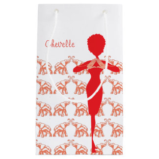 Red Elephant Girly illustration Small Gift Bag