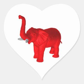 Red Elephant Heart Sticker