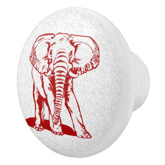 Red Elephant Line Drawing Ceramic Knob