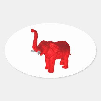 Red Elephant Oval Sticker