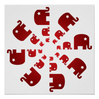 Red Elephants Marching Print